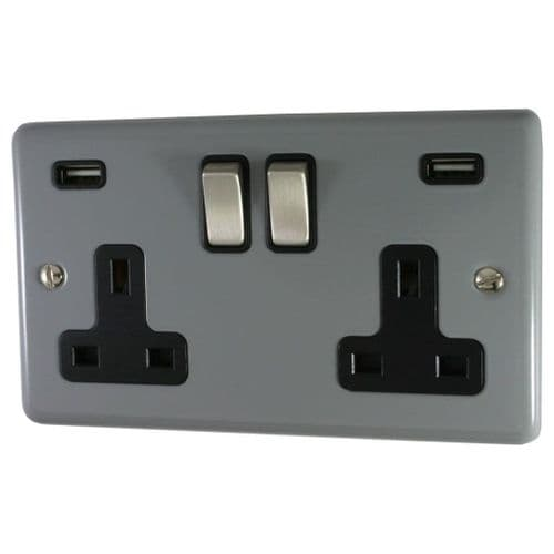G&H CLG3910 Standard Plate Light Grey 2 Gang Double 13A Switched Plug Socket 2.1A USB